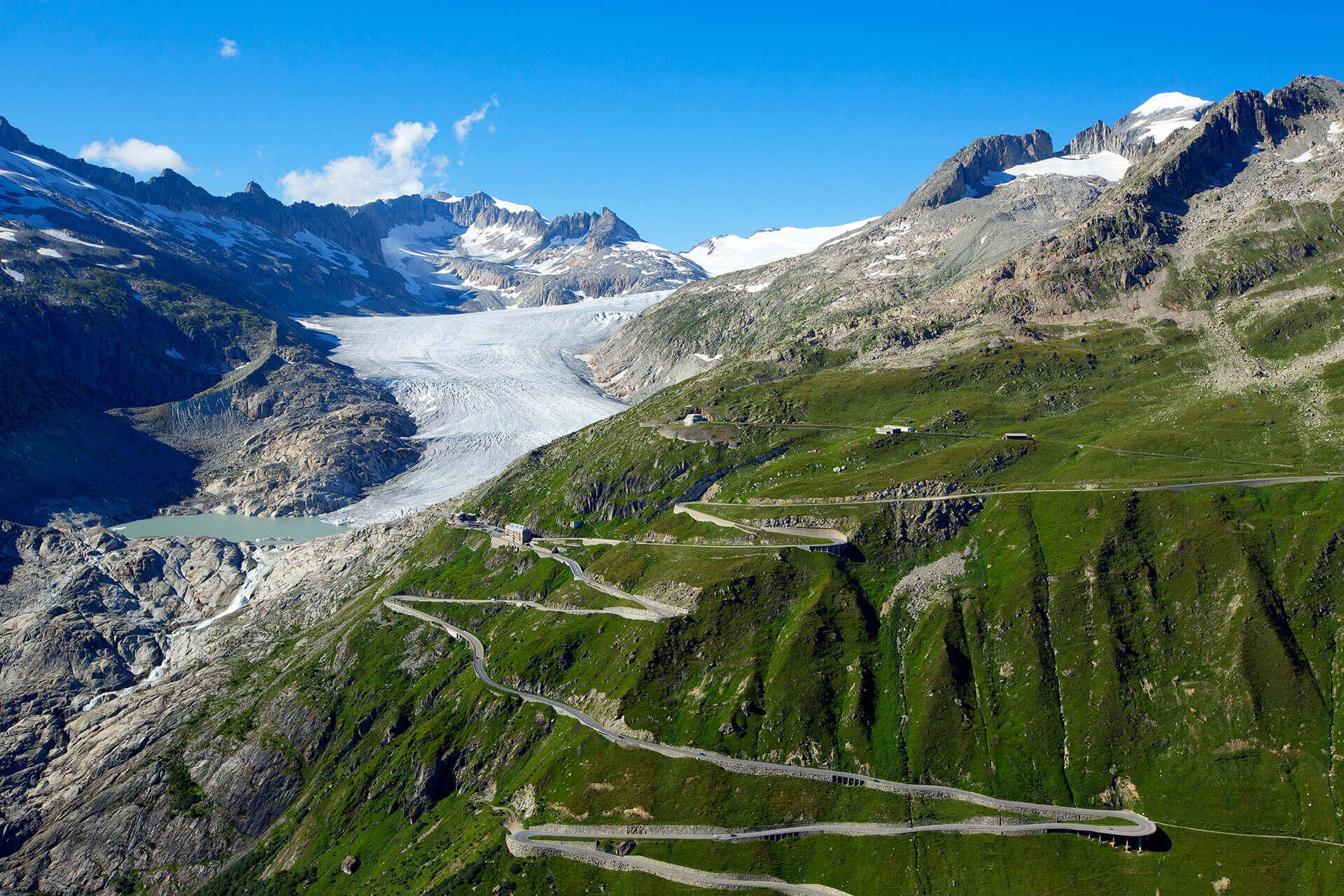 Le fleuve Rhône, Km 0 Canton du Valais, Col de la Furka, Glacier du Rhône