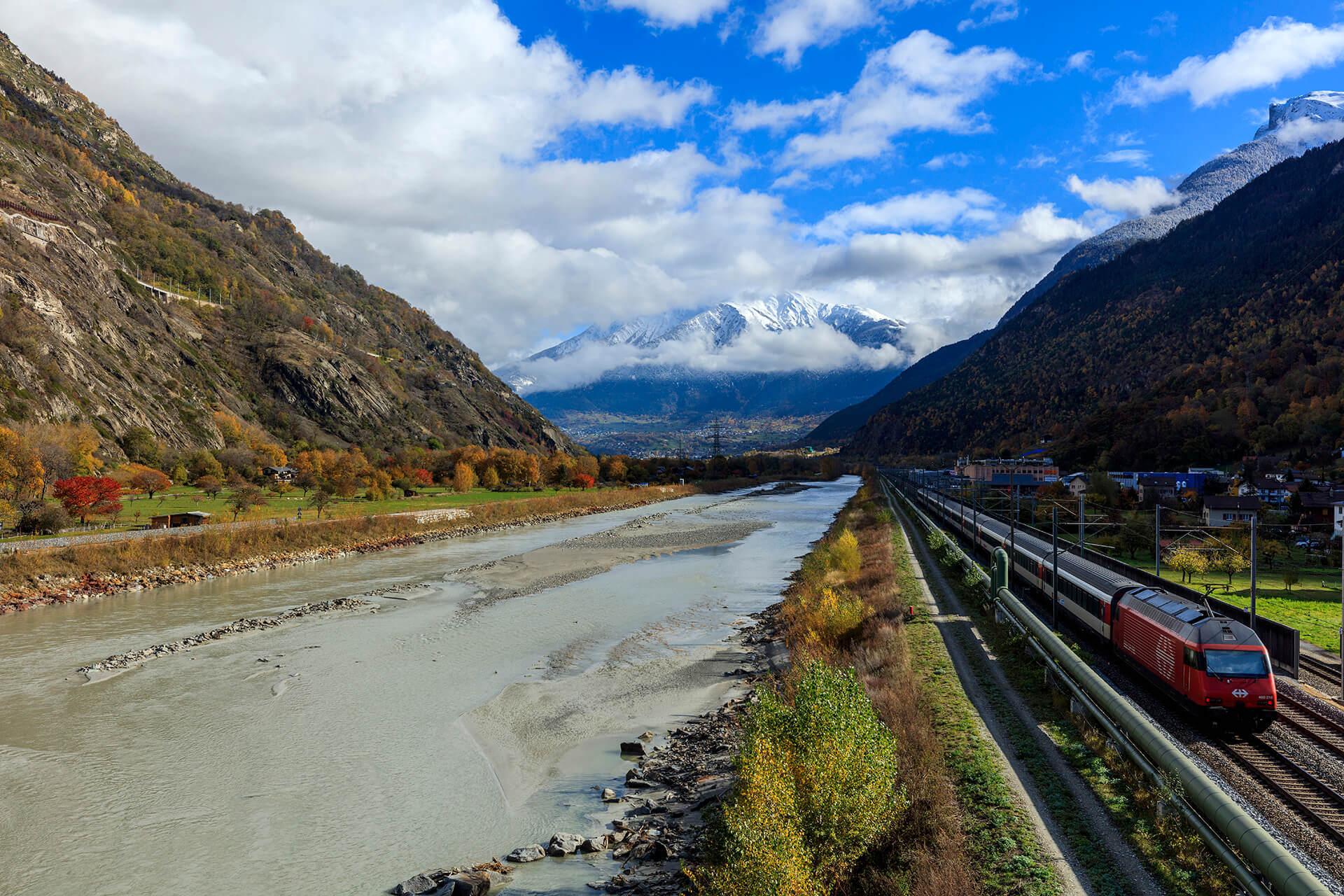 Le fleuve Rhône, Km 54 Canton du Valais, Lalden