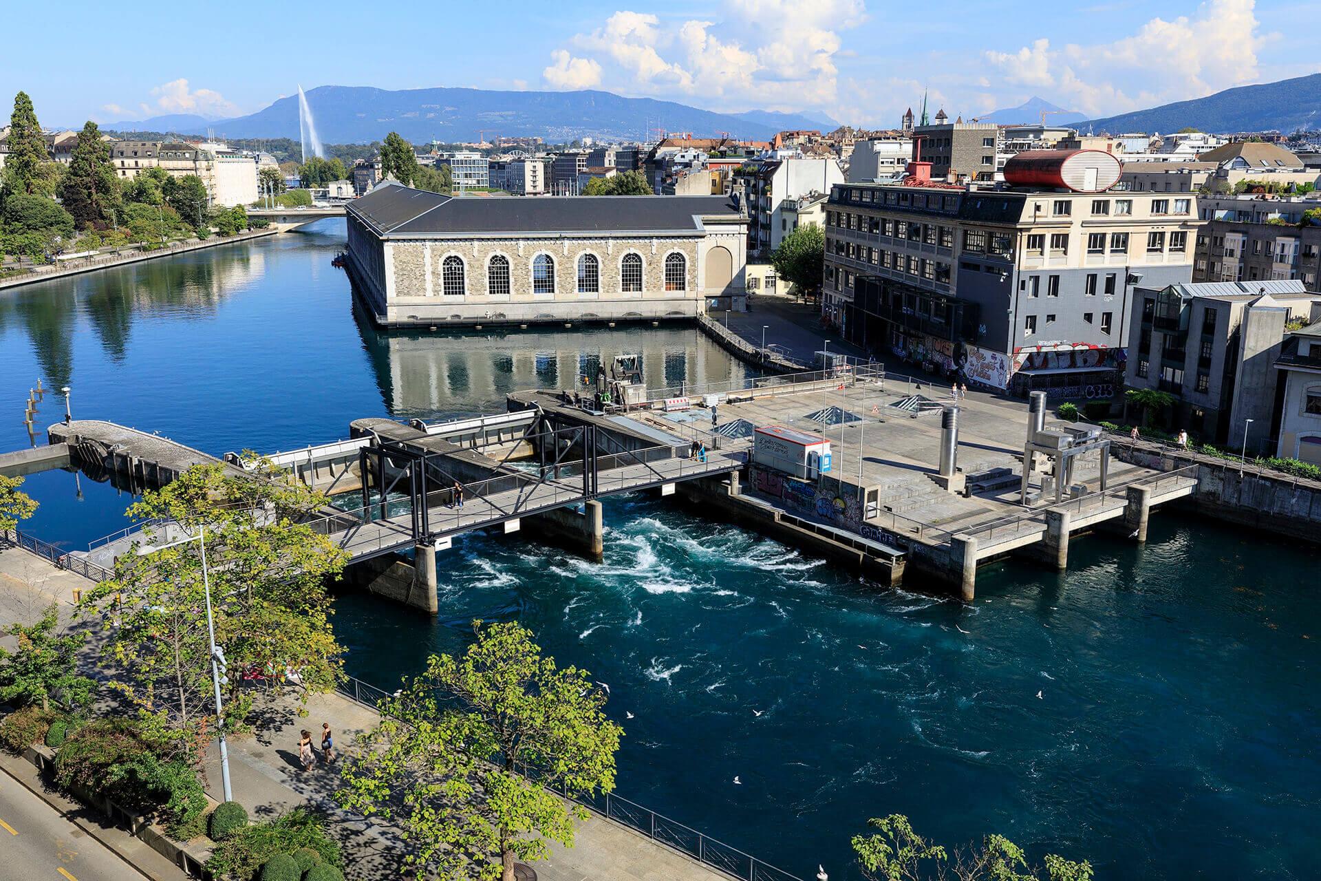 Le fleuve Rhône, Km 238 Canton de Genève, Genève, Barrage du Seujet