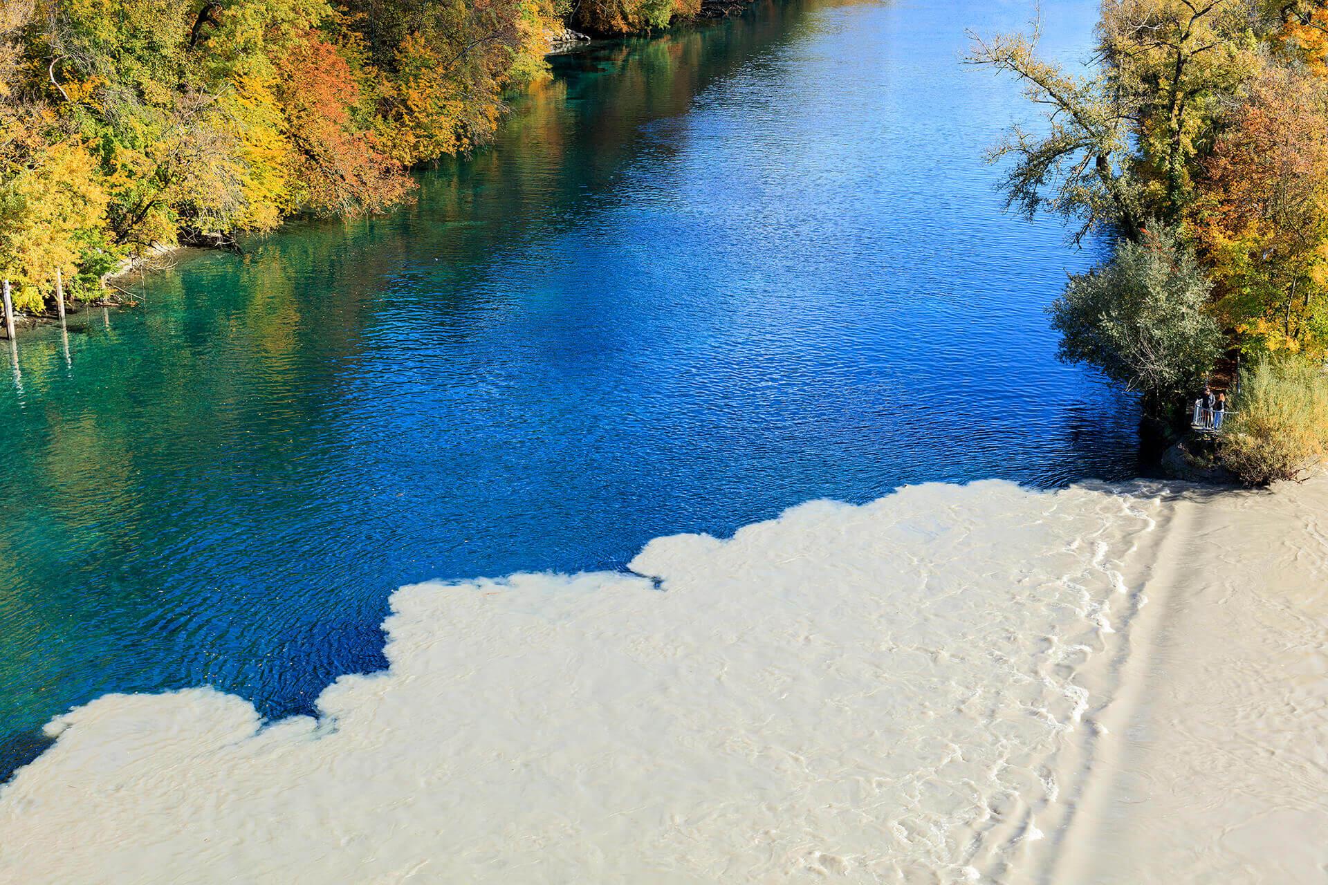 Le fleuve Rhône, Km 239 Canton de Genève, Genève, pointe de la Jonction