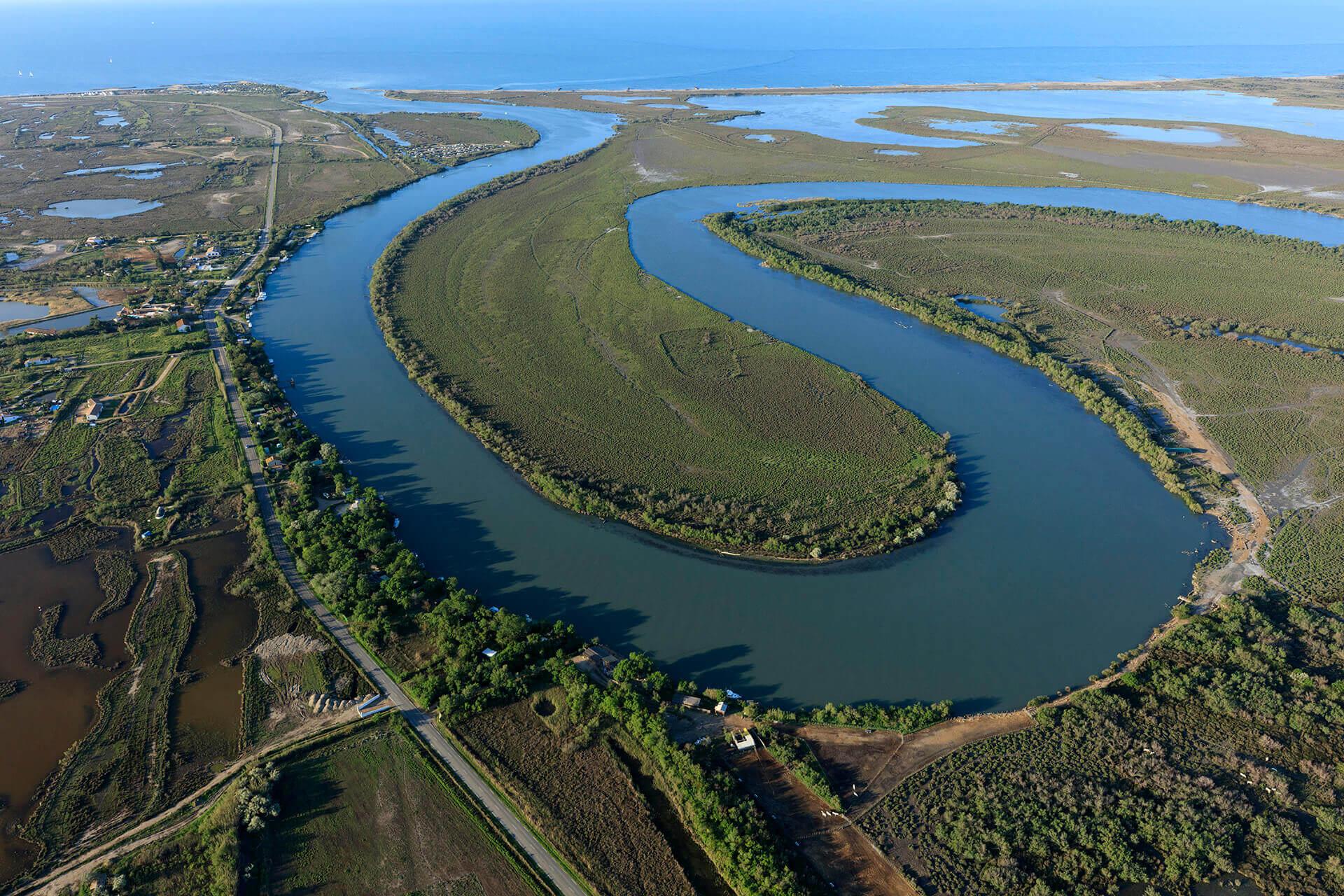 Le fleuve Rhône, Km 759 Bouches-du-Rhône, Saintes-Maries-de-la-Mer